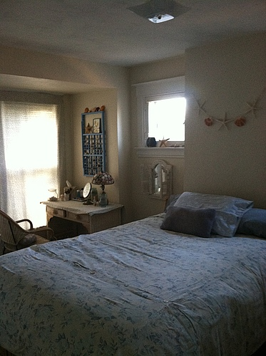 A bedroom at 129 Bulkey in Kalamazoo, Michigan.