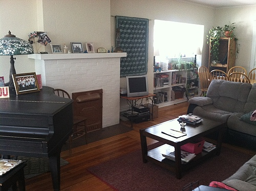 Living room view facing fireplace at 133 Bulkley in Kalamazoo, Michigan.