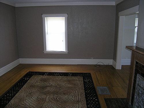 Living room at 139 Bulkley in Kalamazoo, Michigan.