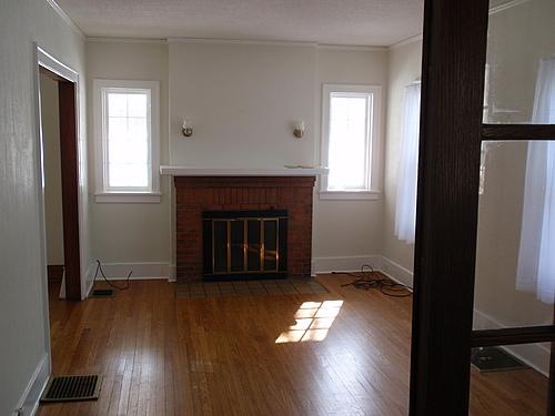 Living room at 143 Monroe in Kalamazoo, Michigan.