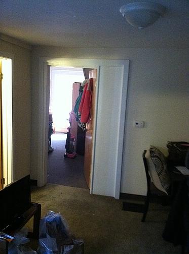 Living room at 402 Stanwood apartment 1 in Kalamazoo, Michigan.