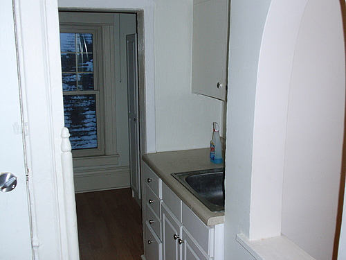 Kitchen sink at 820 Academy apartment 3 in Kalamazoo, Michigan.
